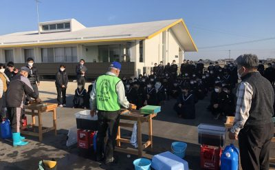 柳城中学校様 修学旅行体験学習で「海苔すき体験」